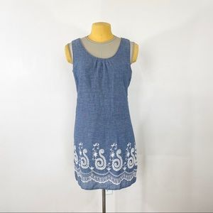 Umgee Chambray Embroidered Dress